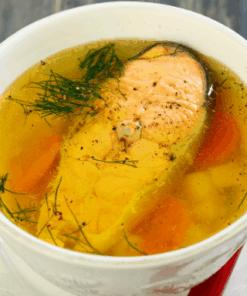 Zalm in venkelbouillon met saffraan